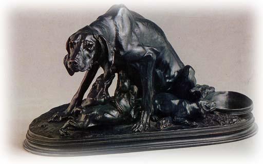 собака со щенятами рисунок